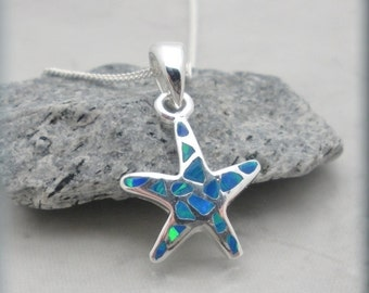 Blue Opal Starfish Necklace, Ocean Necklace, Beach Jewelry, Summer, Bridesmaid Gift, Sterling Silver