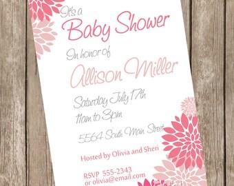 Girl baby shower invitation, pink, white, flowers, printable invitation 121204-K4-2