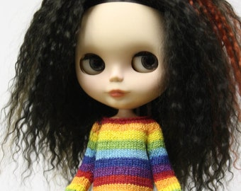 Blythe doll Rainbow stripes Sweater knitting PATTERN - striped doll sweater for Neo - instant download - permission to sell finished items