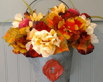 Fall Hanging Floral Bucket