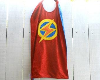 Super Hero Cape RED and BLUE - Lightning Bolt - Birthday Cape - Super Hero Cape - Halloween Costume - Kid Costume