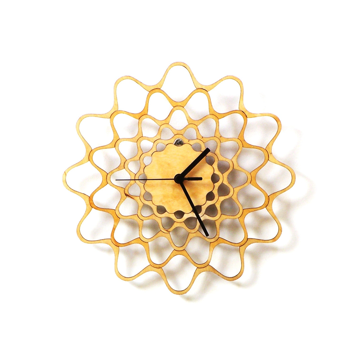 Embroidery contemporary modern wall clock made of wood