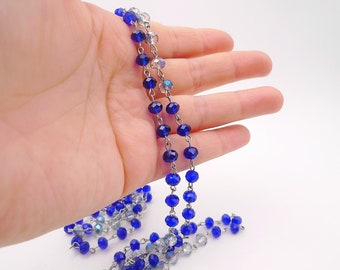 Long beaded necklace, Double wrap necklace, bead necklace, long necklace, Long blue necklace