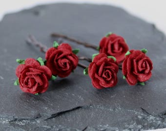 Red rose hair grips, Wedding Hair clips, Bridal Hair Accessories, Bridesmaid and Flower girl hair clips, rose hair pins