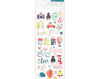 "American Crafts | Dear Lizzy Lovely Day | Puffy Stickers 3""X8"""