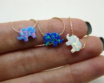 Elephant necklace, Opal elephant necklace, Lucky charm necklace, Animal necklace, Kids jewelry, Opal jewelry, Children jewelry