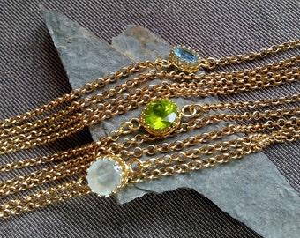 Gemstone Bracelet, Peridot Bracelet, Birthstone Bracelet, August Birthstone, Blue Topaz Bracelet, Multi Strand Barecelet, Peridot Jewelry