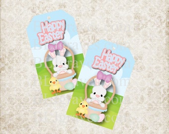 Printable Happy Easter Bunny Basket Gift Tags Party Favor Treat Bag Tags T015