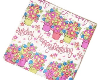 Vintage Wrapping Paper - Happy Birthday - One unused sheet Gift Wrap - Potted Flowers - Floral wrapping - Charm Craft