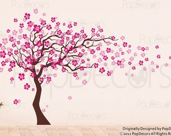 Cherry Blossom Tree Wall Decal (83inch H)- Nursery Floral Decals, Girl's Decal, Baby Room Tree Stickers, Floral Tree Decal, Cherry Blossom