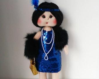 Textile doll Doll Decor doll Interior doll Brunette doll Handmade doll Fabric doll  Art doll by Natalia Sitshaeva