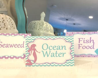 SWEET MERMAID Food Labels Table Tents Buffet Cards Signs {Set of 8} - Party Packs Available Aqua Lavender