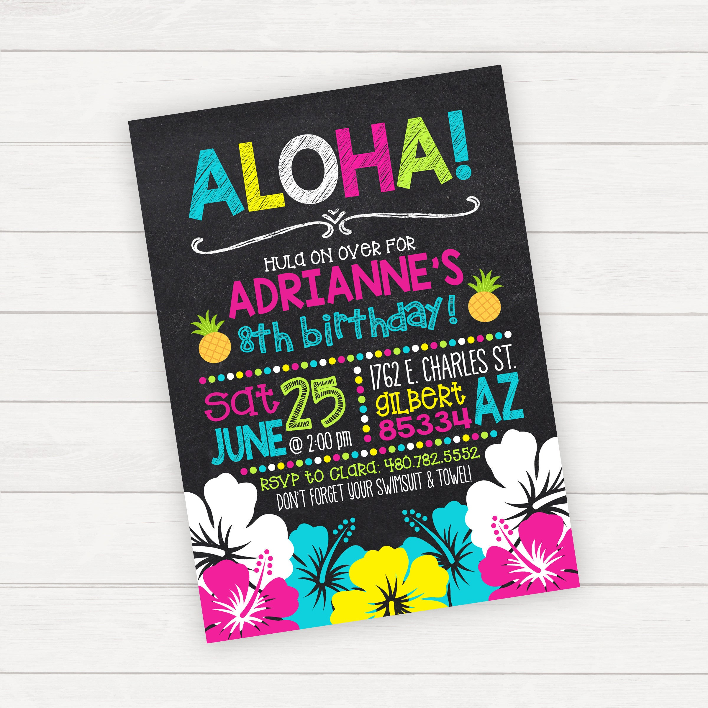 Luau invitación partido del Luau hawaiano cumpleaños