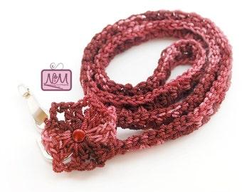 Crochet Retro Flower Pinwheel Lanyard ID Badge Holder, Burgundy, Crochet Lanyard, Gifts For Her, Gifts For Student, Key FOB, Key Holder