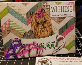 Handmade Coffee Lovers Tea Set Flowers Yorkshire Yorkie Terrier Dog Anniversary greeting card glitter coffee with matching envelope