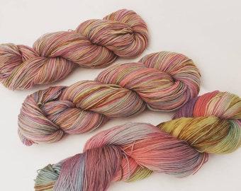 All-naturally dyed merino superwash lace weight yarn 'Let's Play', OOAK yarn, naturally dyed merino yarn