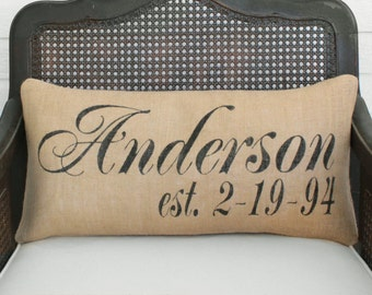 Personalized Name and Est Date Pillow -  Burlap Pillow Lumbar Style - Name Pillow - Date Pillow