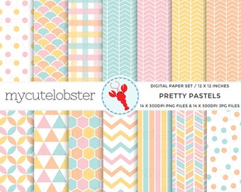 Pretty Pastels Digital Paper Set - patterned paper, scrapbook paper, chevron, polka - personal use, small commercial use, instant download