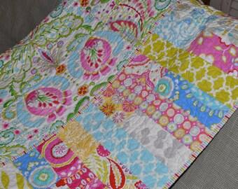 MADE TO ORDER Custom Lap Size Toddler Baby Girl Quilt Blanket Vintage Inspired Shabby Chic Style Kumari Garden Fabric by Dena Design