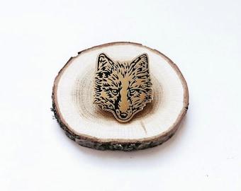 FUR FACE wolf fox Enamel Pin Wolf pin Fox pin Coyote pin Lapel Pin Hard Enamel Pin Game Pingame black and gold flair animal pin fox pin foxy