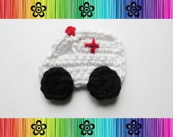 PATTERN-Crochet Ambulance Applique-Detailed Photos