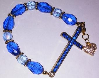 Religious Christian Jewelry Cross Heart Bracelet Religious Jewelry Christian Bling BR3