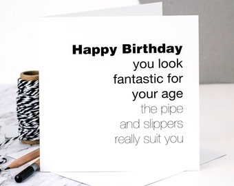 Funny Birthday Card For Men; 'You Look Fantastic'; Birthday Card For Dads; Birthday Card For Husbands; GC128