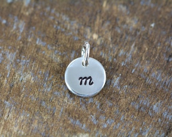 Initial Disc Add-On, 3/8 inch Hand Stamped Sterling Silver Initial Pendant