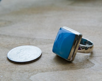 Silver Vintage Blue Stone Bezel Set Square Statement Ring, Size 7.5 Silver Antique Blue Ring