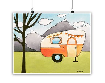 Camper Art RV Wall Art Camper Print, Camping Decor, RV Wall Decor, RV Art Vintage Camper Trailer Decor