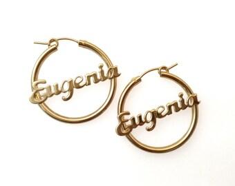 Personalized rose gold earrings.hoop earrings. Name earrings. Name hoop earrings. gold name earrings. Personalized earrings.