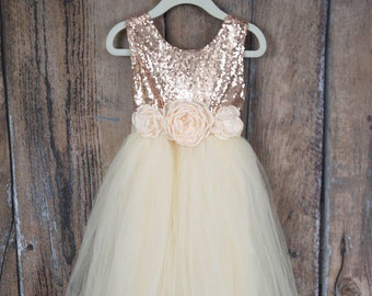 Cream Flower Girl Dress, Rose Gold Sequin Top, Floor Length Dress, Sash, Tutu, Ball Gown, Boho Chic Country, Photography Prop, Birthday