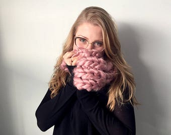 Chunky Knit Luxe Scarf | MADE TO ORDER | Dusty Pink Rose Cowl