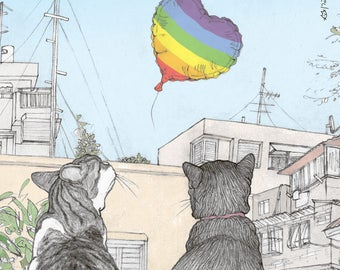 Pride cats magnet  -  featuring Rafi and Spageti, the famous Israeli cats from Ha'aretz Newspaper Comics
