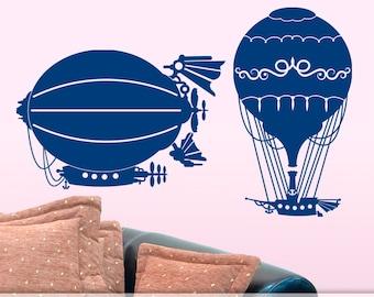 Steampunk Hot Air Balloon Decals | Steampunk Vinyl Wall Decal | Steampunk Wall Decor | Boys Girls Bedroom Decor | Dirigible, Blimp, Airship