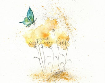 Fields of Love With Teal Aqua Butterfly, botanical print, watercolor botanical, watercolor flowers, cottage chic