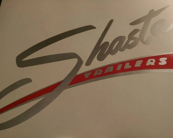 Large Silver with Red Shasta decal vintage camper Glamping
