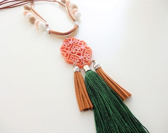 Long tassel necklace w/pompom and suede cord