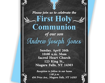 First Holy Communion, Invitation, Boy 1st Communion, Communion Invite, Boy, 1st Communion Invite -FIRSTCOMB5