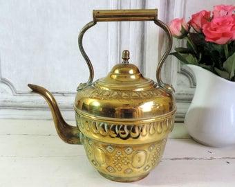 Vintage Teapot/Vintage Brass Teapot/French Vintage Teapot/Brass Teapot/Moroccan Teapot/Brass Moroccan Teapot