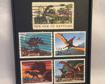 """Dinosaur - Recycled Postage Stamp Framed Art 3.5""""x5"""", unique gift, small gift, trex, brontosaurus, reptiles, pterodactyl"""