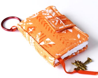 Tiny Journal in Orange Tropical Fabric Cover, Miniature Journal, Mini Blank Book, Key Ring Notebook with Ribbon Bookmark and Hawaiian Charm