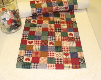 Table Runner Patchwork Print Ivory Green Blue Burgundy 70 inches long