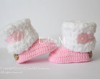 Crochet baby booties, baby shoes, baby girl shoes, pink, white, winter boots, baby shower, gift for baby, 6-9 months, fur baby shoes