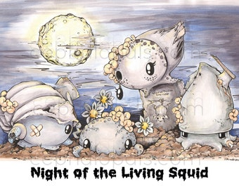 """Cephalopal Zombies in """"Night of the Living Squid"""" Print"""