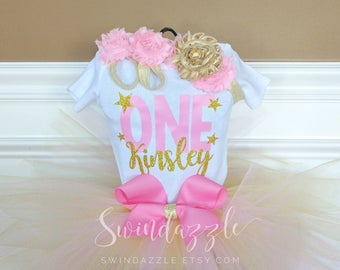 Twinkle twinkle Little Star bodysuit - pink and gold star Birthday shirt - start Birthday shirt - girls first birthday - twinkle Birthday