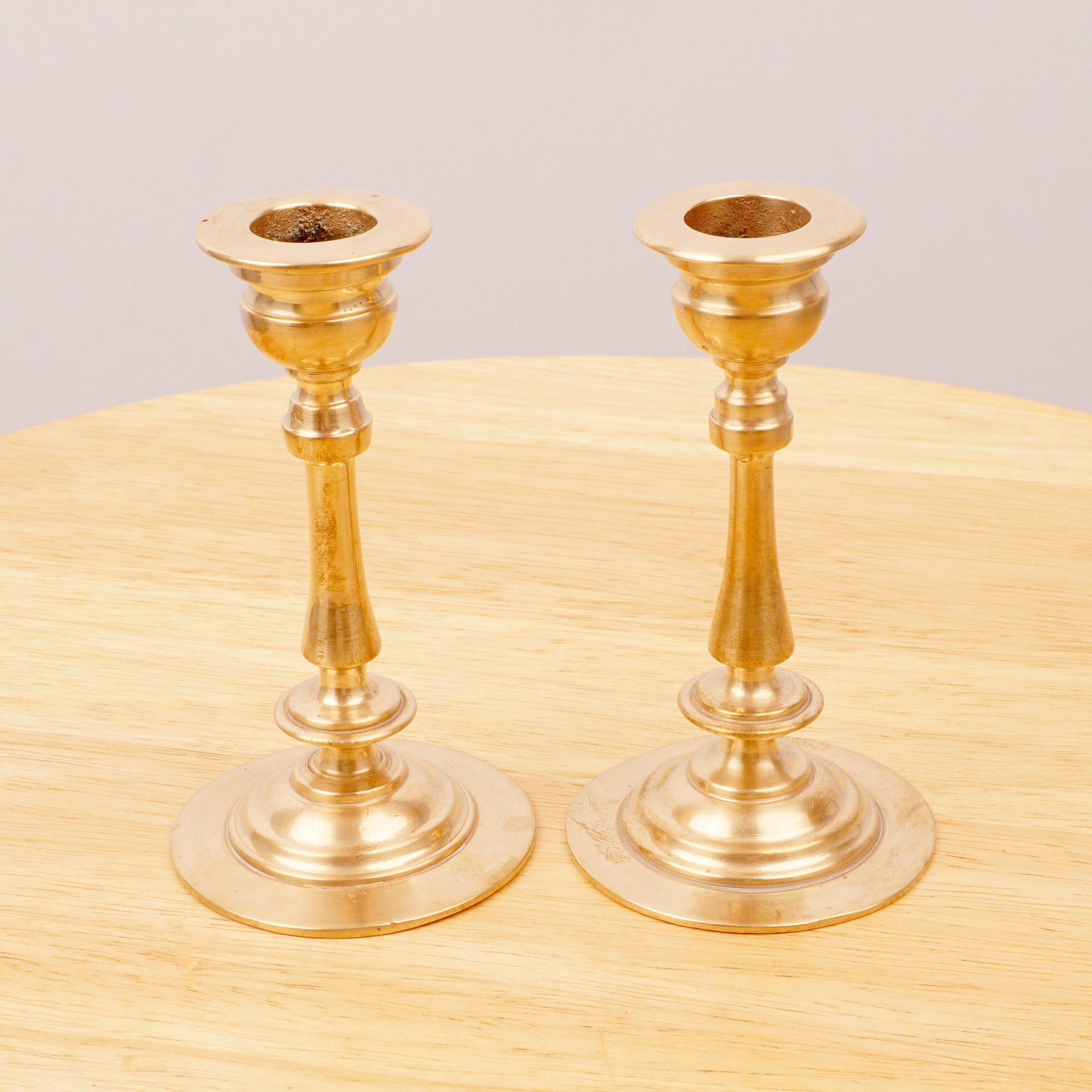 Image of 2 Candlestick Holders / Candle holder Vintage Solid Brass Midsize candle holders for regular size candles Pair of candle holders