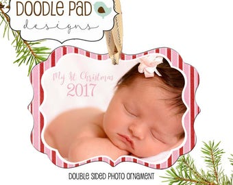 Photo Baby Ornament, Personalized Baby First Christmas Ornament