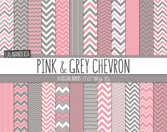 Chevron Digital Paper Package with Pink and Grey Backgrounds. Printable Papers - Pink and Gray Chevron Patterns. Digital Scrapbook