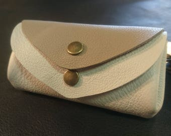 P coin / credit card - 4 pockets - cream & Taupe
